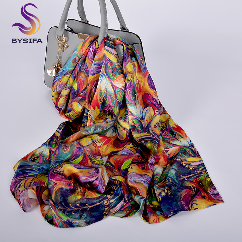 [BYSIFA] New Luxury Pure Silk Scarf Shawl Women Spring Autumn Long Scarves Ladies Brand 100% Silk Neck Scarf Foulard 175*52cm