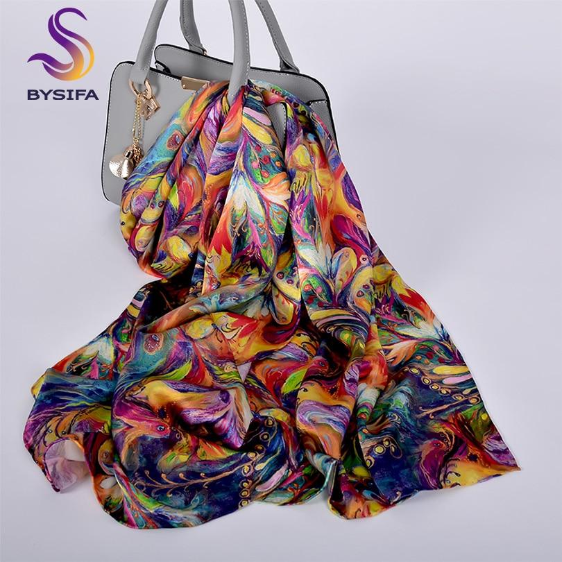 [BYSIFA] New Luxury Pure Silk Scarf Shawl Women Spring Autumn Long Scarves Ladies Brand 100% Silk Neck Scarf Foulard 175*52cm