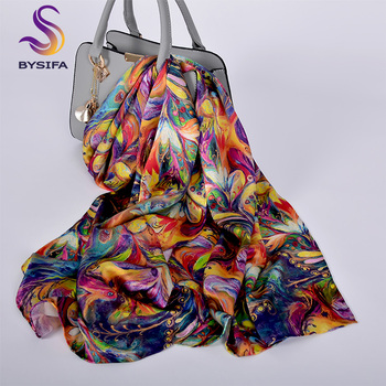 [BYSIFA] New Luxury Pure Silk Scarf Shawl Women Spring Autumn Long Scarves Ladies Brand 100% Silk Neck Scarf Foulard 175*52cm luxury chinese characters red silk scarves for women cashmere scarf winter spring long silk shawl wrap 175cm women accessories