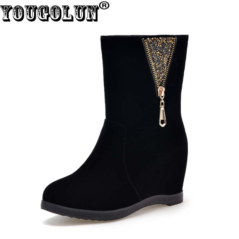 YOUGOLUN Women Ankle Boots 2017 New Autumn Winter Wedges Heel 6 cm Black Zipper High Wedge Heels Round toe Crystal Shoes #Y-152 hxrzyz autumn ankle boots women increased wedges new round toe thick heel female anti skid side zipper shoes black winter boots
