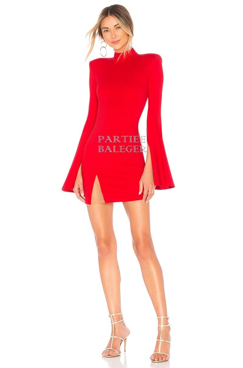 Mini Robe Conception Maille Nouvelle Bandage Arrivée Chic Évasée Longues Manches Club rouge Celebrity Patchwork 2019 Noir Party 2IHY9EDW