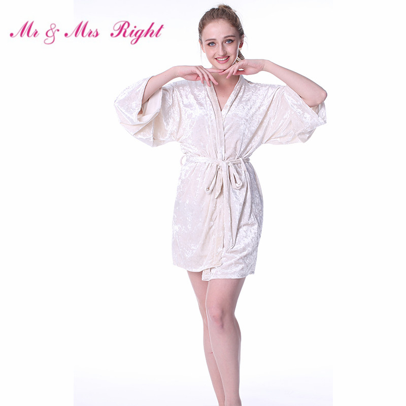 Mr & Mrs Right Warm Kimono Robes For Women On Winter Night Bathrobe Lingerie Sexy Short Nightgown Bride Bridesmaid Wedding Robes