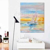 Ręcznie malowane abstrakcyjny obraz olejny łódź żaglowiec obrazy olejne na płótnie Wall art Zdjęcia do salonu nowoczesne tapety 14