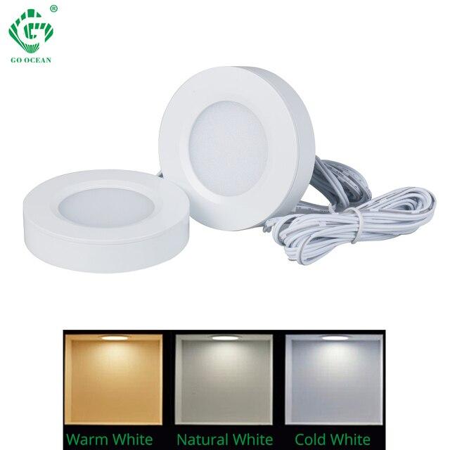 Under Cabinet Lights Kitchen Lamp Closet 12V Cupboard LED Counter Furniture Shelf Round Puck Light Fixtures