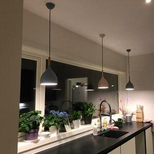 Image 3 - Luces colgantes de Lustre multicolor iluminación colgante de madera para restaurante, accesorios de iluminación de cocina, lámpara LED moderna para Loft E27