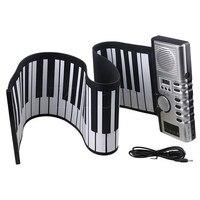 Yibuy黒柔軟なソフト61鍵デジタルロールアップ電子キーボードのピアノ多機能サポートトーンリズムデモ曲