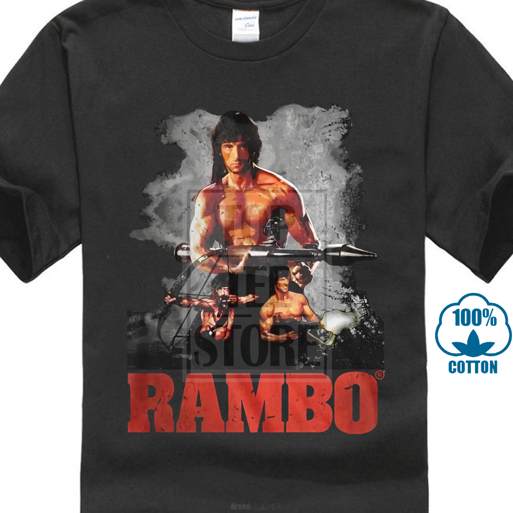 Official T Shirt Mens John Rambo The Movie 100% Black Cotton In Sizes Sm 4Xl