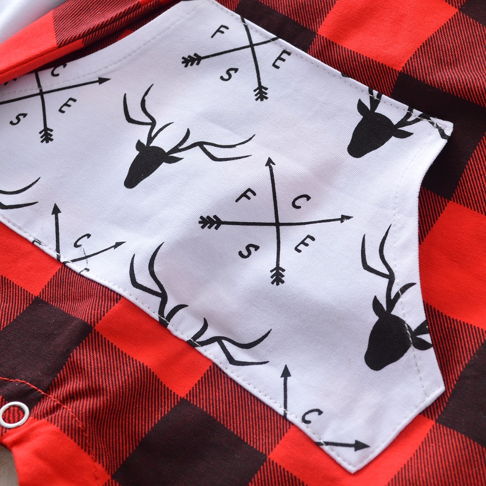 2017 The new red plaid Jumpsuit send hat baby girl clothes