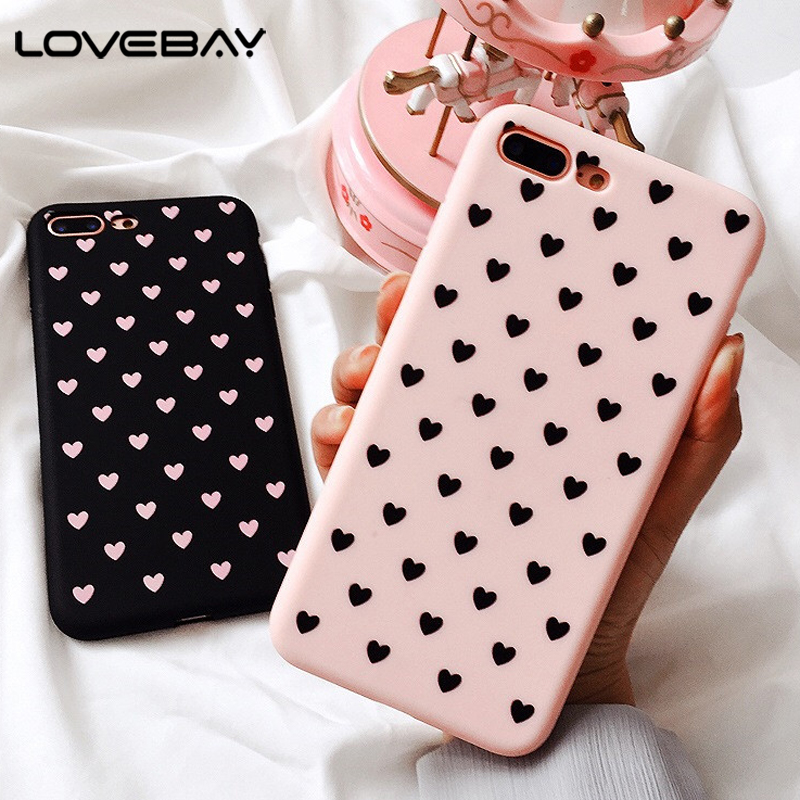 big sale 409b7 b7191 Phone Iphone X 8 7 6 6S Plus Lovely Couple Love Heart Simple Pink Soft TPU  Matte Back Cover Cases For Iphone X