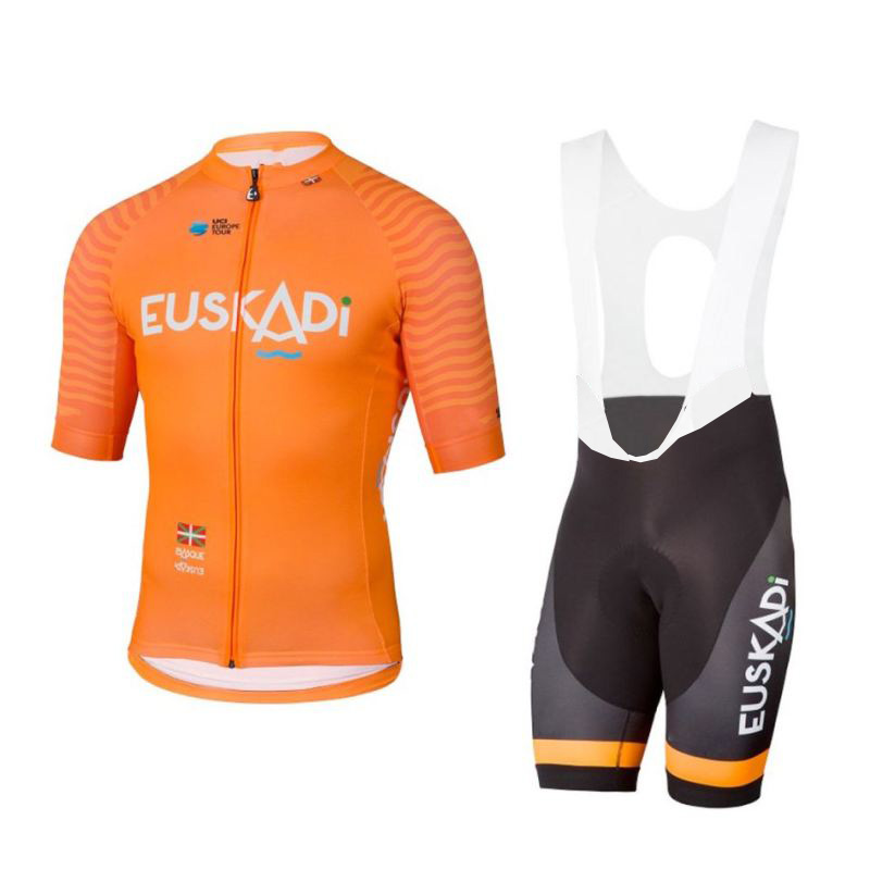 цена 2018 eroupe pro team orange euskadi cycling jersey kits mens summer bike cloth MTB Ropa Ciclismo Bicycle maillot gel pad онлайн в 2017 году
