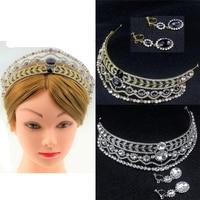 Vintage Wedding Bridal Diamante Strass Barocco Regina Tiara Crown Ciondola Gli Orecchini Insieme Dei Monili Del Partito Argento Oro