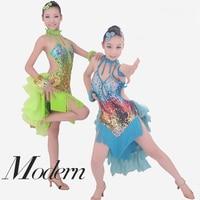 Sexy Bling Sequin Latin Dance Dress Girls Kids Fringed Modern Ballroom Salsa Latin Competition Dancewear With