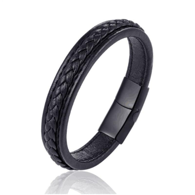 Classic 19,21,23cm Size Choose Genuine Leather Stainless Steel Magnetic Buckle Men Women Leather Bracelet Fashion Charm Bracelet