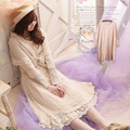 Primavera harajuku mulheres sweet lace floral camada pequeno de algodão doce de manga comprida bonito kawaii feminino princesa dress mori menina a065
