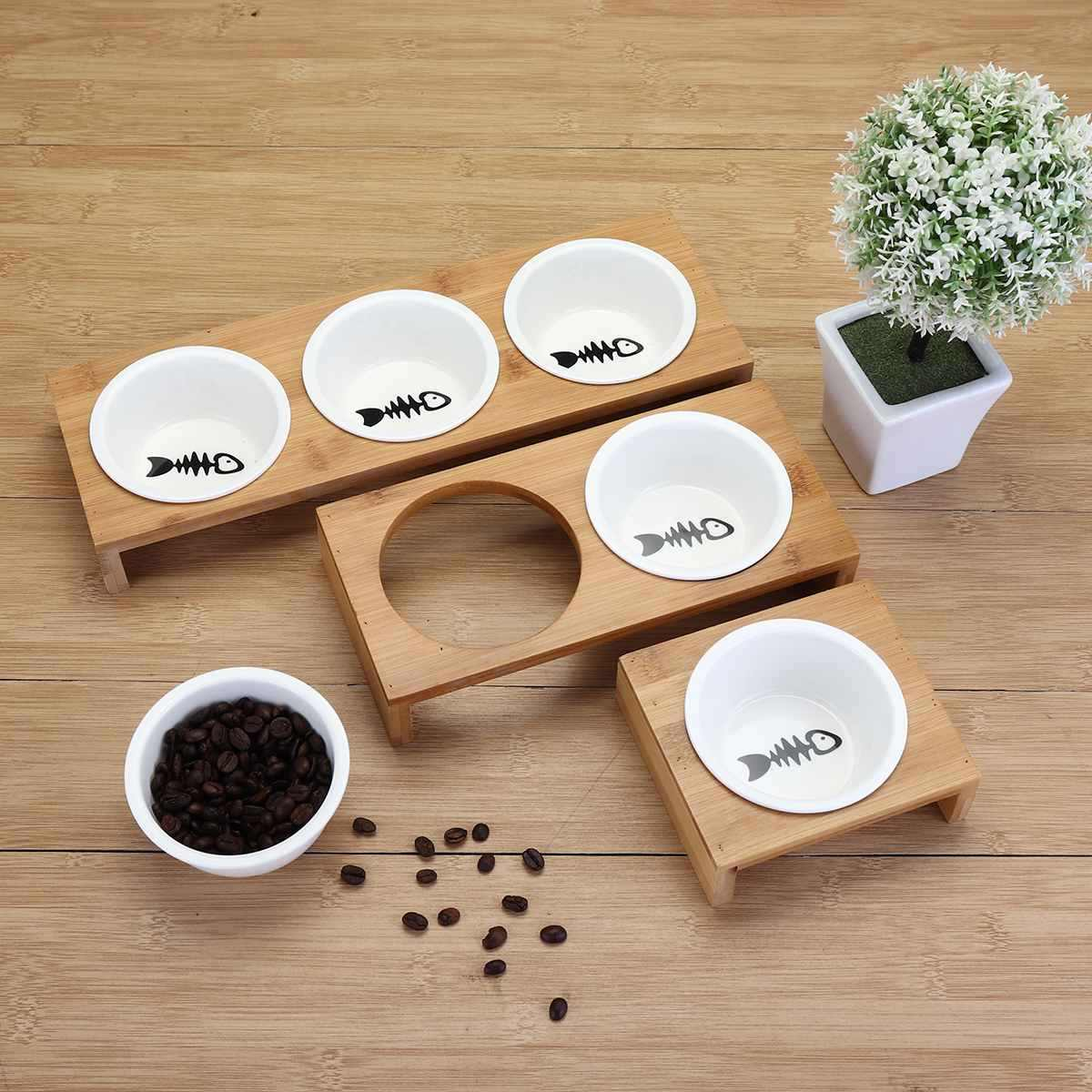 Cat Dog Feeders Bowl Pet Food Water Bowl 1/2/3 Bowls Ceramic Tableware Bamboo Frame Antiskid Pet Supplies Dog Cat Feeding Bowl