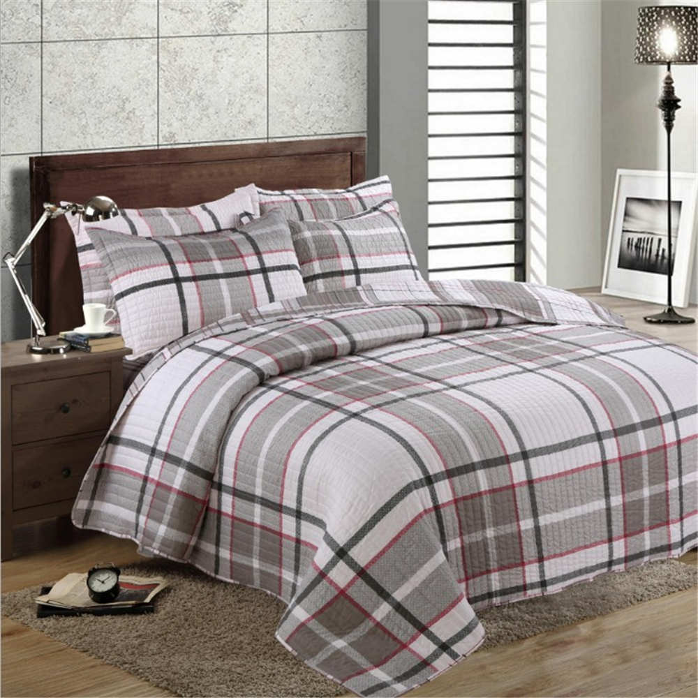 Quality Plain Stripe Quilt Set Twin Size Quilted bedding Wash Cotton Quilts Bedspread for Bed Covers