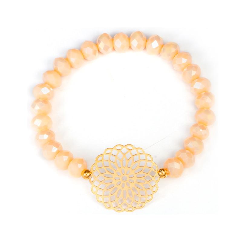 docona Boho Heart Orange Beadeds Bracelet Set for Women Flower Chains Adjustable Bracelet Bangle Pulseiras Party Jewelry 4019 4