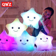 QWZ 36*36cm Star Led Light Pillow Cute Star Luminous Pillow with Colorful Light Kids Christmas Birthday/Valentine's Day Gifts(China)