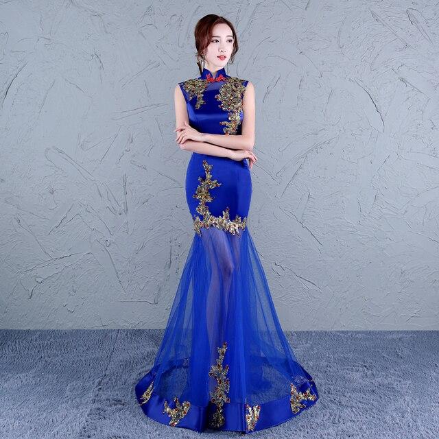 4abe2507895c Donne cinesi cheongsam abito tradizionale cinese abito da sposa lungo  oriental blue lace designer abbigliamento porcellana