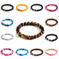Unisex Newest Natural Stones Gold/Sliver Buddha Turquoise Candy Color Men And Women Elastic Chain Bracelets Fashion Jewelry