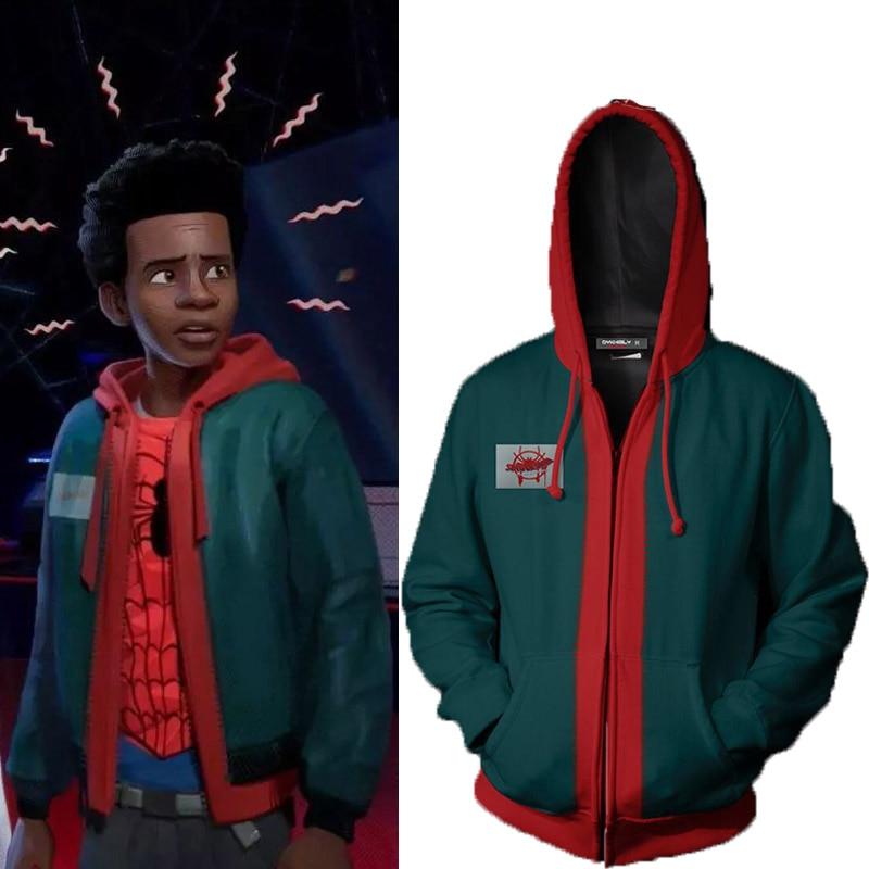 a323d2ad Spider-Man Into The Spider-Verse Hoodie Miles Morales Polyester Zipper  Sweatshirt Women Men