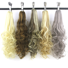 Soowee 24inch Long Blonde Brown Curly Synthetic Hair Extension Little Pony Tail High Temperature Fiber Claw Hairpiece Ponytail