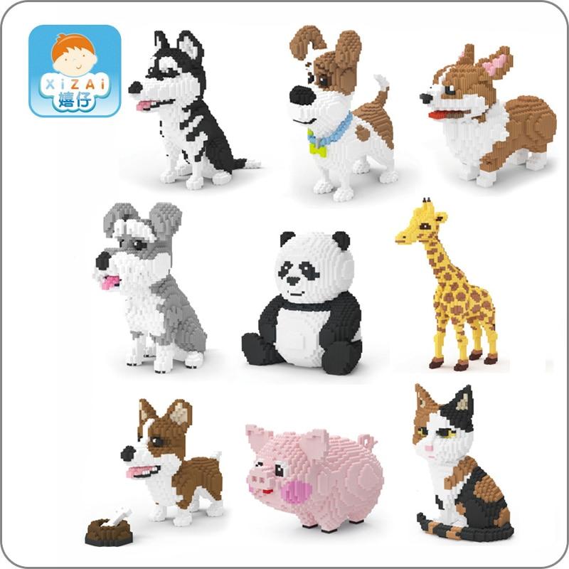 2019 Animal de compagnie Husky Schnauzer gallois Corgi Jack Russell chien persan chat Panda girafe cochon bricolage Mini blocs de construction jouet cadeau