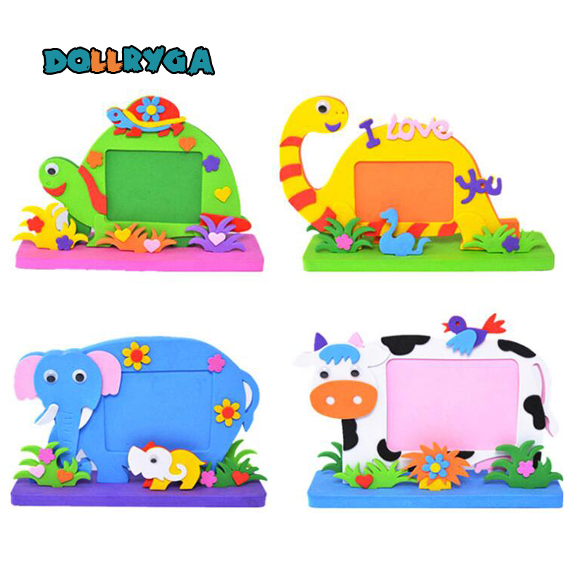 EVA Cartoon Photo Frame DIY Applique Children Handmade Non-woven Cloth Cartoon Animal Photo Frame Craft Art Craft Gift 1set