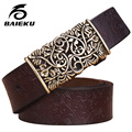 baieku Ms pure leather belt hollow out smooth buckle youth decorates ms jeans with a leather belt