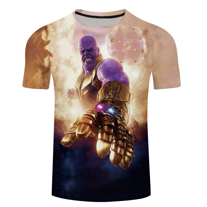 2018 Fashion 3D T-shirts Men Avengers Thanos 3D Print Streetwear Casual Short Sleeve Tees Shirts Tops Fitness 5XL