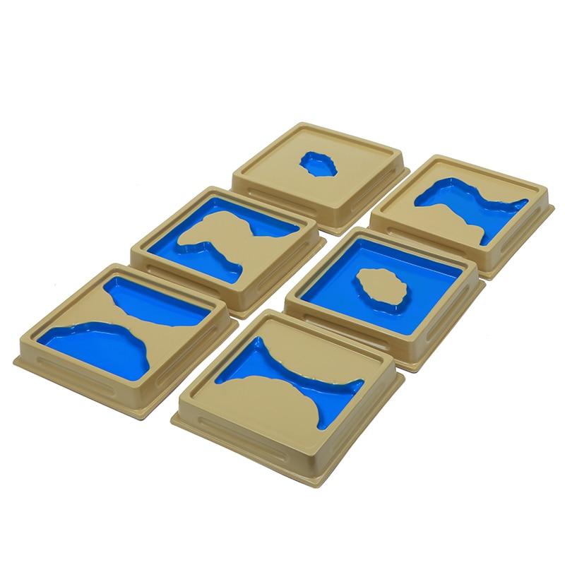 Bébé jouet Montessori géographie moule terre et eau forme plateaux ensemble 1 Set 2 avec cartes éducation précoce enfants Brinquedos Juguetes - 3
