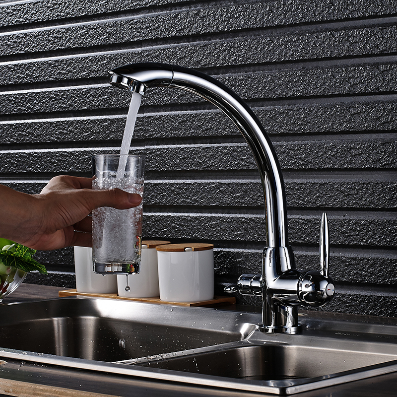 Kitchen Faucet Purified Water Purification Faucets Deck: ULGKSD Chrome Kitchen Faucet 360 Rotation Deck Mounted