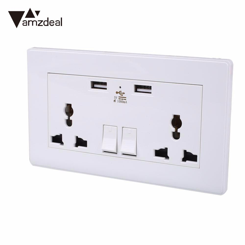 amzdeal neue steckdose 2 usb outlets panel universal home dekoration
