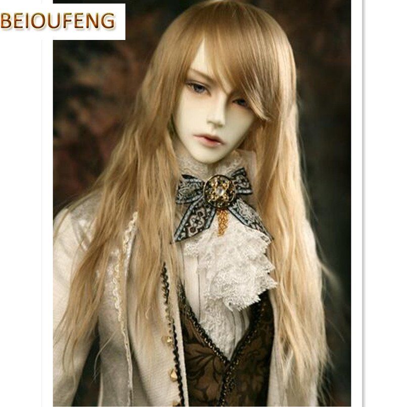 BEIOUFENG 1/3 1/4 1/6 BJD Doll Wigs High Temperature Wire Long Wavy Hair for Dolls,Synthetic Doll Hair Accessories for Dolls 1 8 1 6 1 4 1 3 uncle bjd sd dd doll accessories wigs gold long straight hair