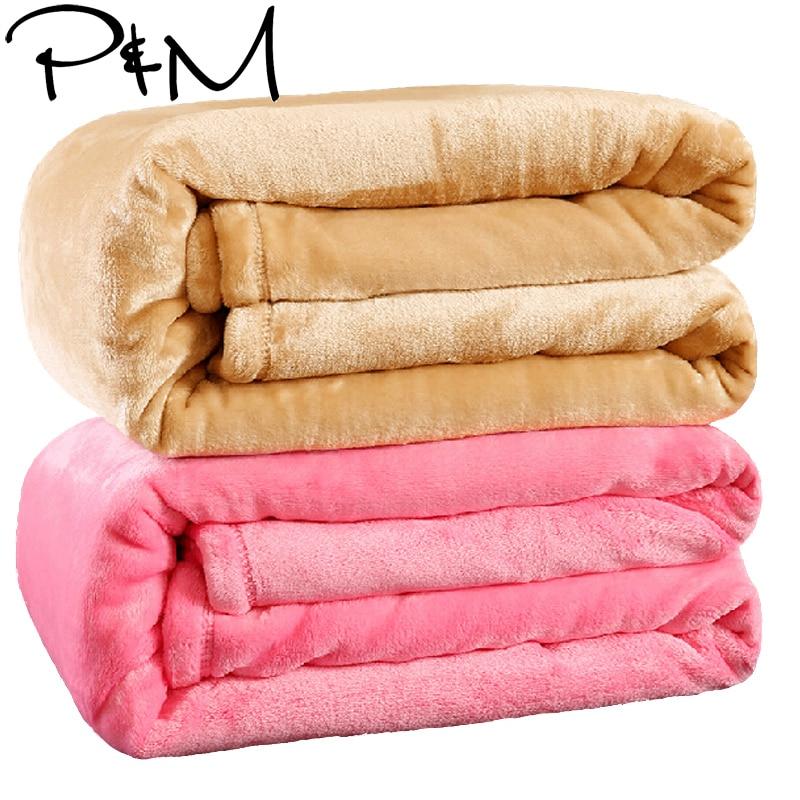 Reine taille solide couleur canapé/literie jette flanelle couverture 200*230 cm hiver chaud drap de lit