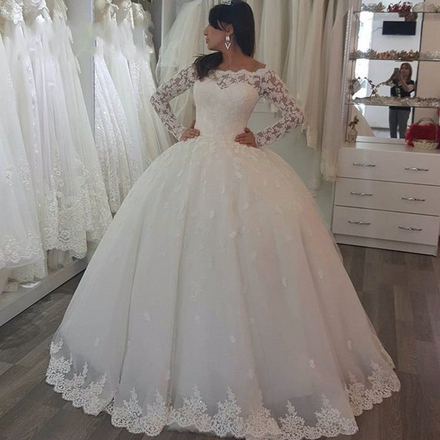 Long Sleeve Lace Wedding Dresses Ball Gown Tulle Wedding Gowns ...