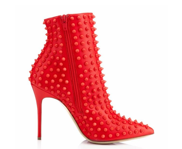 Hot Selling Solid Red Rivets Studded Short Boots For Woman High Thin Heels Ankle Shoes Pointed Toe 2019 Spring AutumnHot Selling Solid Red Rivets Studded Short Boots For Woman High Thin Heels Ankle Shoes Pointed Toe 2019 Spring Autumn