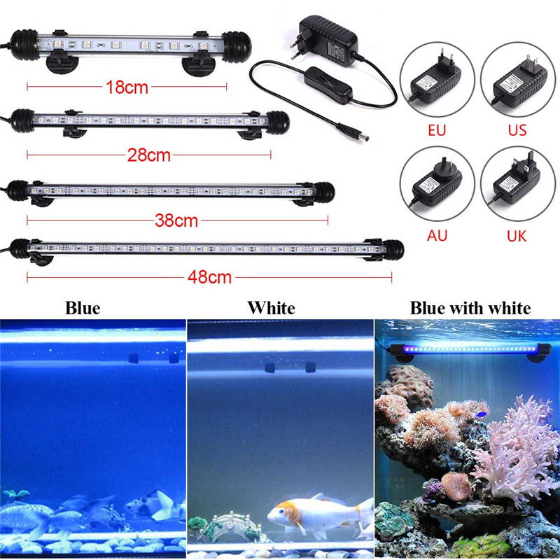 Aquarium Fish Tank 9/12/15/21 LED Light SMD5050 Blue/White 18/28/38/48CM Bar Submersible Waterproof Clip Lamp Decor EU Plug 18cm 30cm aquarium led strip bar light tube 1w 2 4w waterproof submersible fish tank lamp smd5050 white blue decor lighting