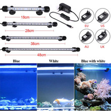 Aquarium Fish Tank 9/12/15/21 LED Light SMD5050 Blue/White 18/28/38/48CM Bar Submersible Waterproof Clip Lamp Decor EU Plug 72 led white blue light aquarium top lamp w holder ac 100 240v eu plug