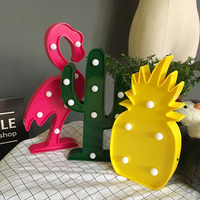 Nightlight Flamingo/Pineapple/Cactus/Tree Home Decoration Crafts Accessorie Kids Room 3D Figurines Miniatures Photography props