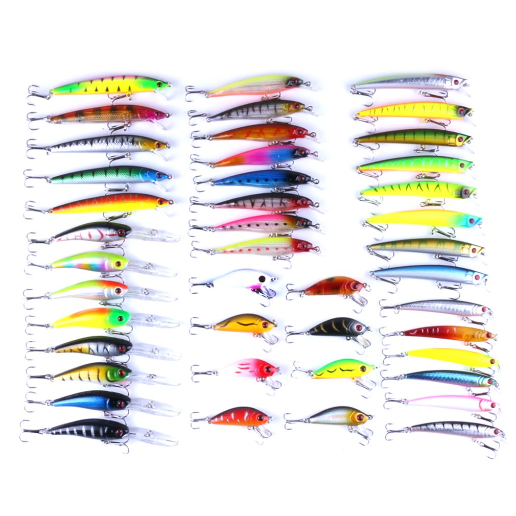 43pcs/lot Simulation Fishing Lure Set Hard Bait Carp 6 Models Fishing Tackle Combination Minnow Assorted Mixed False Bait