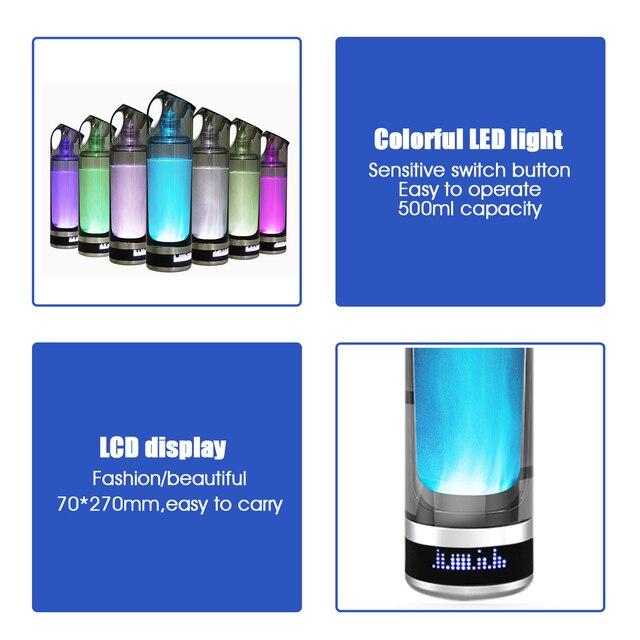 AUGIENB 500ml hydrogène riche bouteille deau lonizer générateur alcalin LED Portable sain tasse USB Rechargeable Anti-âge