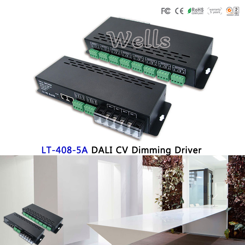 LTECh Led DALI Dimming Driver,LT-408-5A;DALI to PWM Led CV Dimming Driver for led strip lights;DC12-24V input;5A*8CH output