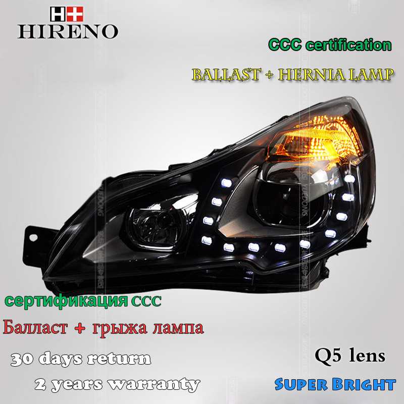 Hireno Headlamp for 2010-2012 Subaru Outback Headlight Assembly LED DRL Angel Lens Double Beam HID Xenon 2pcs