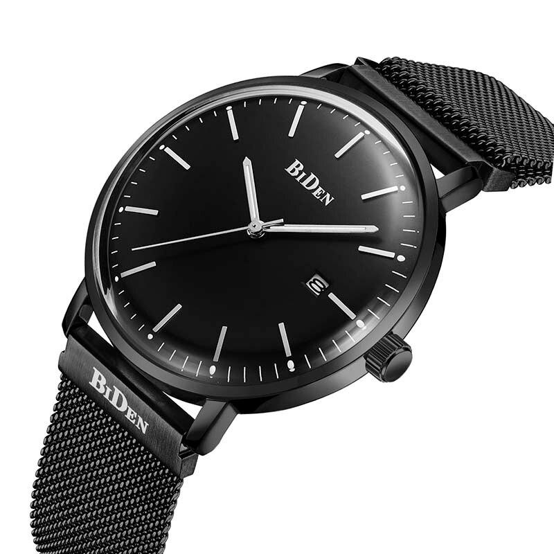 BIDEN Auto Date Men Quartz Watch Stainless Steel Mesh Band Watches Fashion Slim Man Watches Male Relogio Sport Wristwatches