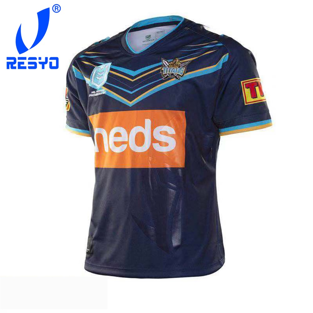 e33f5dd0281 RESYO for Newest 2019 Gold Coast Titans Men's Replica Home Jersey Rugby  Jerseys Football Shirt/