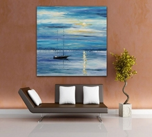 100% Palette Knife Oil Painting Boat Moored on Seaside Morning Seascape Picture for Office Home Wall Art Decor