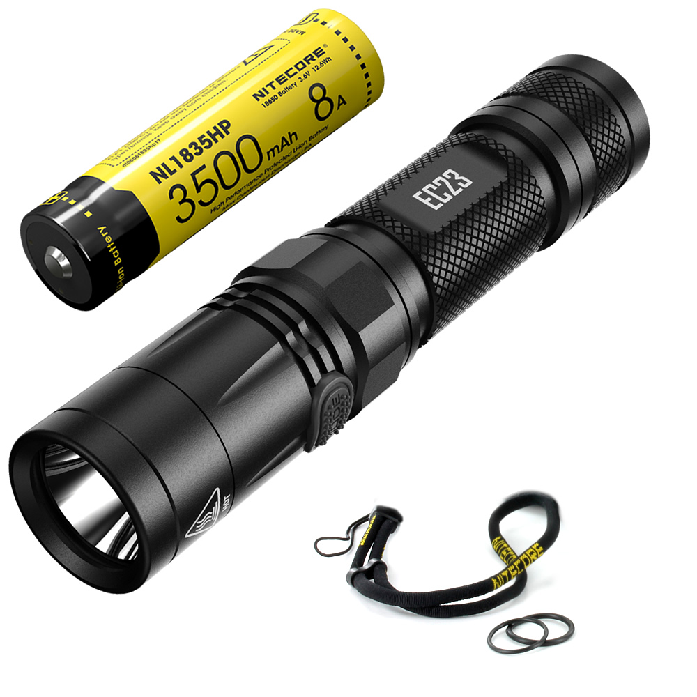 NITECORE 1800 Lms LED Flashlight EC23 + Rechargeable NL1835HP 3500MAH 8A Battery 18650 Waterproof Outdoor Camping Portable Torch powerful led flashlight cree xm t6 lantern rechargeable torch zoomable waterproof aaa 18650 battery hand light linterna camping