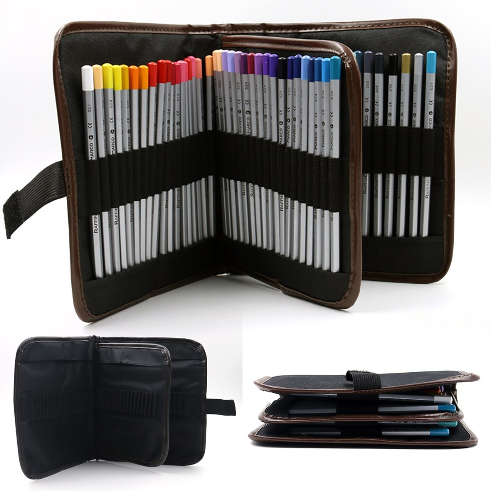 1Pc 72 Holes Pencil Bag Case Student Pencils Pen Brush Case Pouch Pocket Holder Canvas Pen Case For Makeup Bag Or Pencil Case mint student navy canvas pen pencil case coin purse pouch bag jun01
