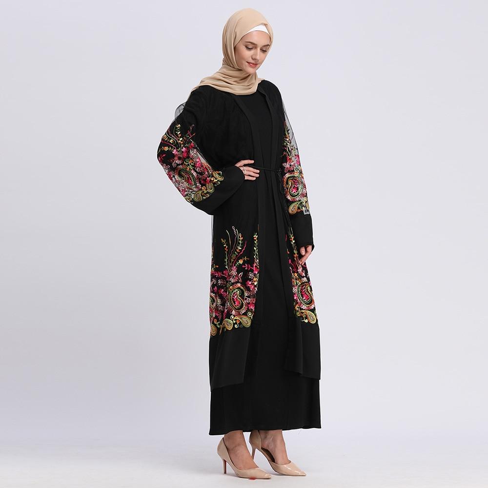 Plus Size Long Kimono Mujer 2019  Abaya Muslim Women Floral Embroidery Chiffon Mesh Cardigan Blouse Roupas Feminina Clothing